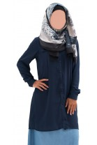Chemise longue Khalina Bleu