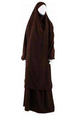 Jilbab 2 pièces marron
