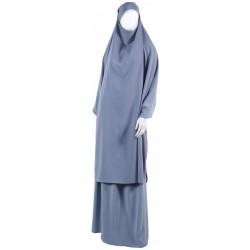 Jilbab 2 pièces gris clair