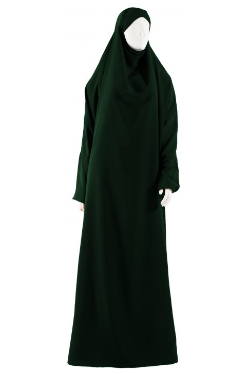 Jilbab 1 pièce vert bouteille