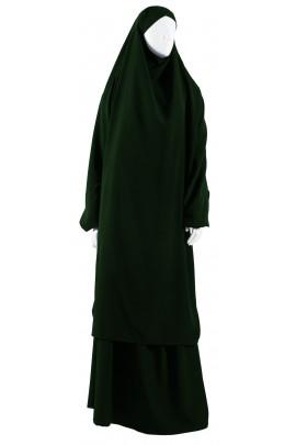 Jilbab 2 pièces vert bouteille
